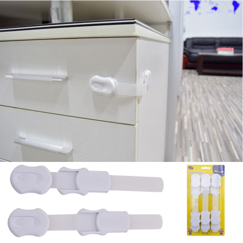 Free Shipping 6 Pcs Per Lot Multifunction Bendy Baby Safety Adjustable Lock In Drawer Cabinet Door Toilet Refrigerator