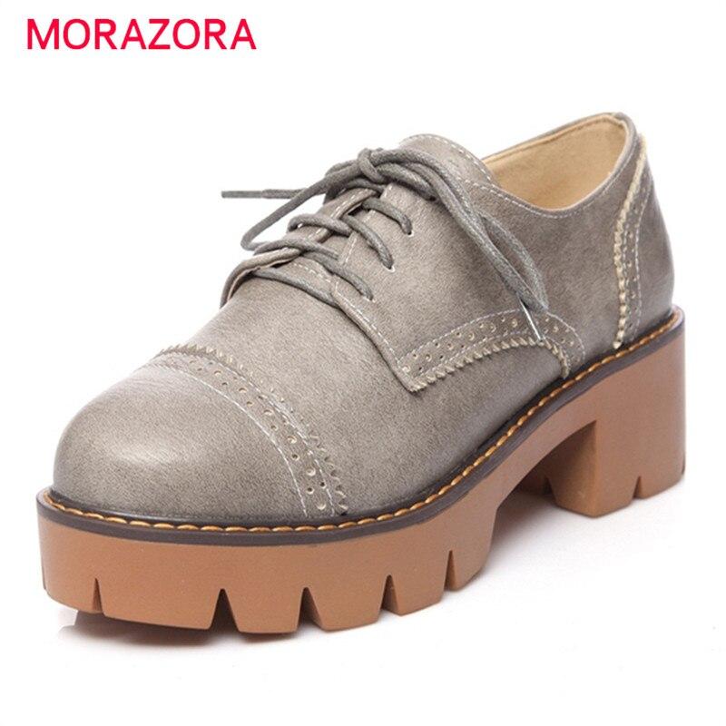 MORAZORA Solid pu platform shoes lace-up round toe high heels shoes woman soft leather pumps big size 34-43 four seasons
