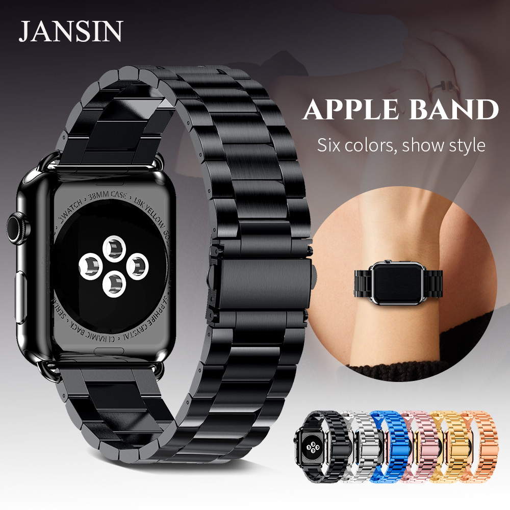 JANSIN link Bracelet Strap For Apple watch band 38mm 42mm 40mm 44mm Iwatch Series 4 3 2 1 Stainless Steel strap Metal women jansin strap band for apple watch 40mm 44mm 42mm 38mm for iwatch 3 2 1 stainless steel watch band link bracelet watchband strap