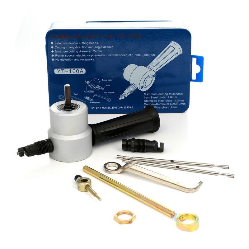 7 Pcs Head Cutter Sheet Metal Nibbler Cutter Power Drill Attachment +Wrench+Box Double 7 Pcs Head Cutter Sheet Metal Nibbler Cutter Power Drill Attachment +Wrench+Box Double