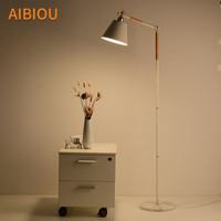 AIBIOU Nordic LED Floor Lamps For Living Room White Standing Lamp Black Reading Lights with Metal Lampshade Indoor luminaire