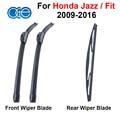 Combo de silicona caucho limpiaparabrisas delanteros y traseros para honda jazz fit 2009-2016 accesorios del coche del parabrisas limpiaparabrisas