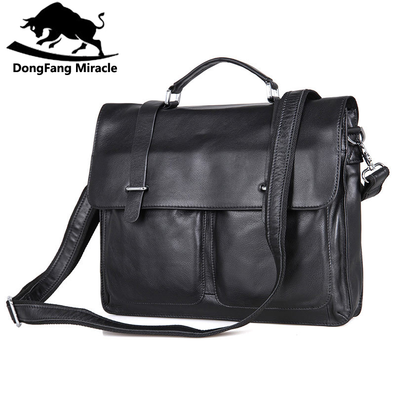 DongFang Miracle Cow Leather Men Business Handbag Fashion Office Briefcase Flap Hasp Shoulder Messenger Bag