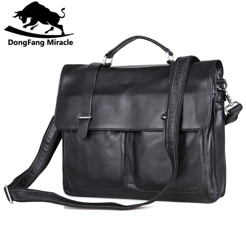 Bagaj ve Çantalar'ten Evrak Çantaları'de DongFang Mucize Inek Deri Erkek Iş Çanta Moda Ofis Evrak Çantası Flap Hasp Omuz askılı çanta'da  Grup 1