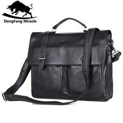 DongFang Wunder Kuh Leder Männer Handtasche Büro Aktentasche Klappe Haspe Schulter Umhängetasche