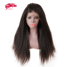 купить 13x6 Brazilian Kinky Straight Lace Front Wig With Pre Plucked Hairline 130%/150%/180% Density Ali Queen Remy Human Hair Wigs дешево