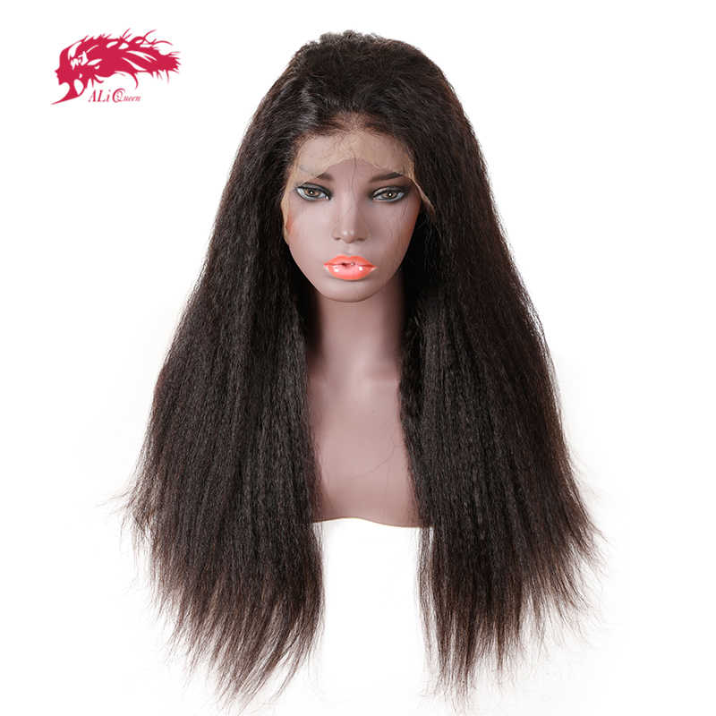 13x6 бразильский кудрявый прямой парик с предварительно выщипанные волосы 130%/150%/180% Плотность Али королева Remy человеческие волосы парики