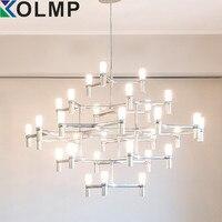 Black/white/chrome/Gold Aluminum Crown MAJOR Design Duplex Villa Restaurant Lighting 9/12 Heads 3 layers Candle Pendant Light