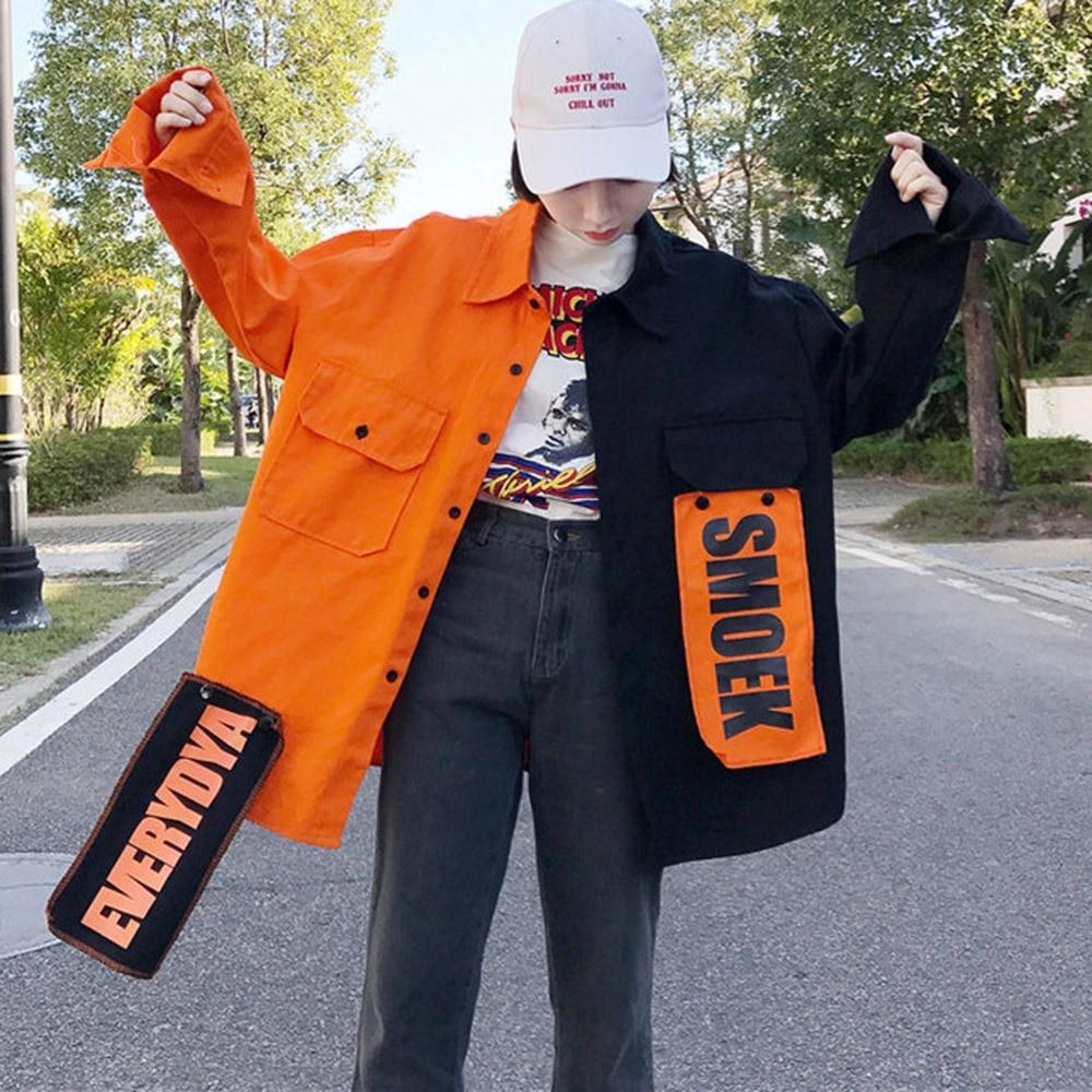 Harajuku Bomber Jacket Coat Women Loose Pocket Designer Cool Red Streetwear Hot Sale Kpop Yellow Spring shirt thin jeans jacket