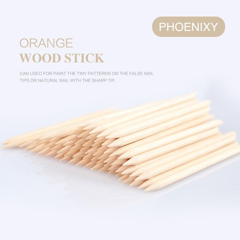 100 Pcs Nail Art Design Orange Wood Stick Sticks Cuticle Pusher Remover Manicure Cleaning Manicure Pedicure Nail Care