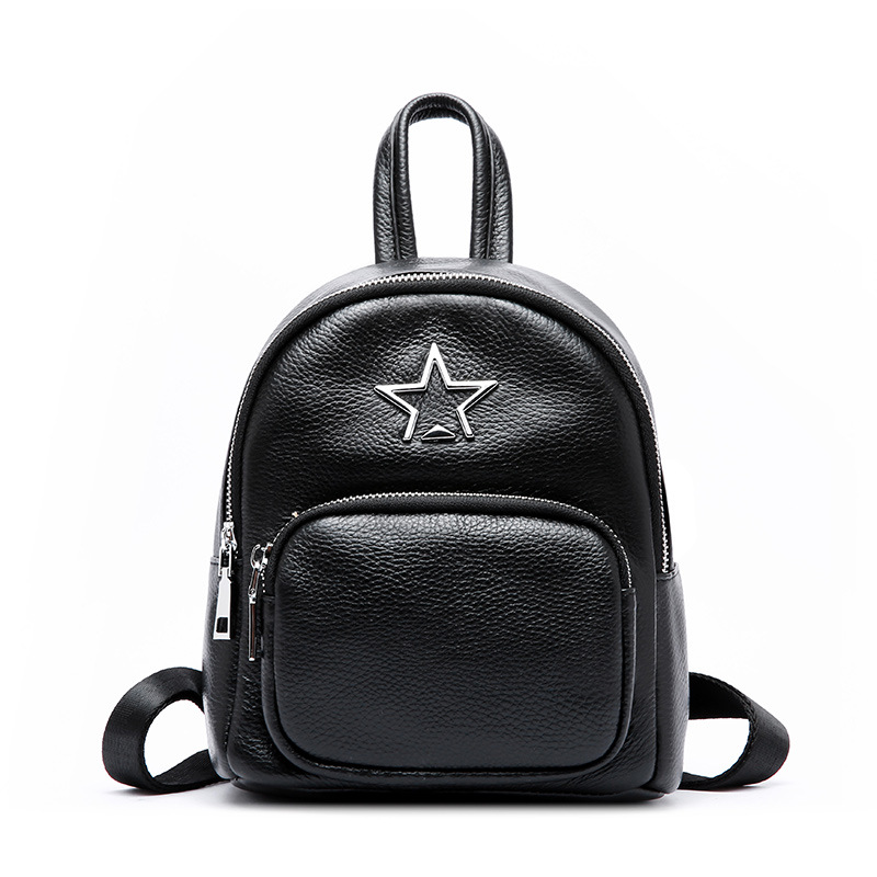 Women's new leather vertical square shoulder bag Korean fashion leather five-pointed star solid color backpack