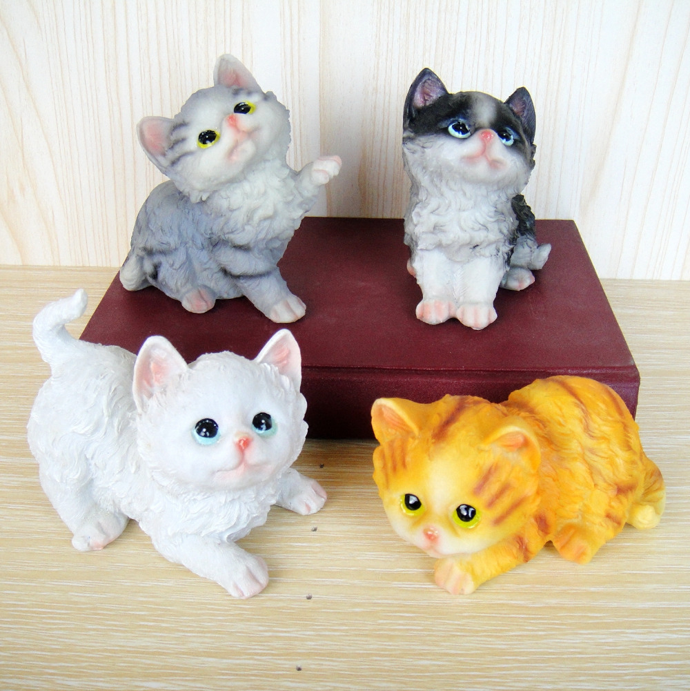 4PC SET Kitty cubs sprout Lovely meow Star Office girl on the table craft statues Vintage sculpture Home dies