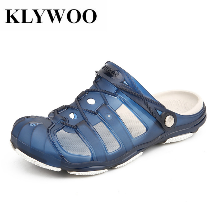 KLYWOO Fashion Men Summer Beach Slippers Hole Hollow Out Ventilating Men Casual Jelly Shoes Slides Breathable Sandals Slip on