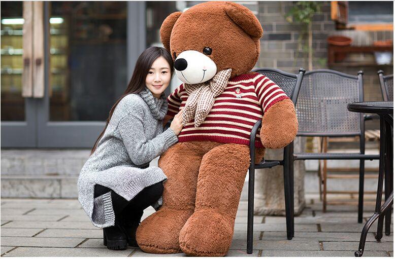 huge 160cm brown teddy bear plush toy with blue stripes sweater bear doll soft hug pillow