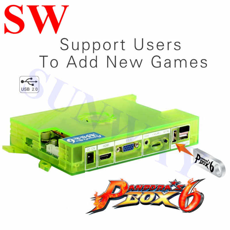 Original pandora box 6 1300 in 1 jamma/home version pcb 보드는 3000 게임을 추가 할 수 있습니다. led/crt 아케이드 게임기 용 hdmi/vga/cga