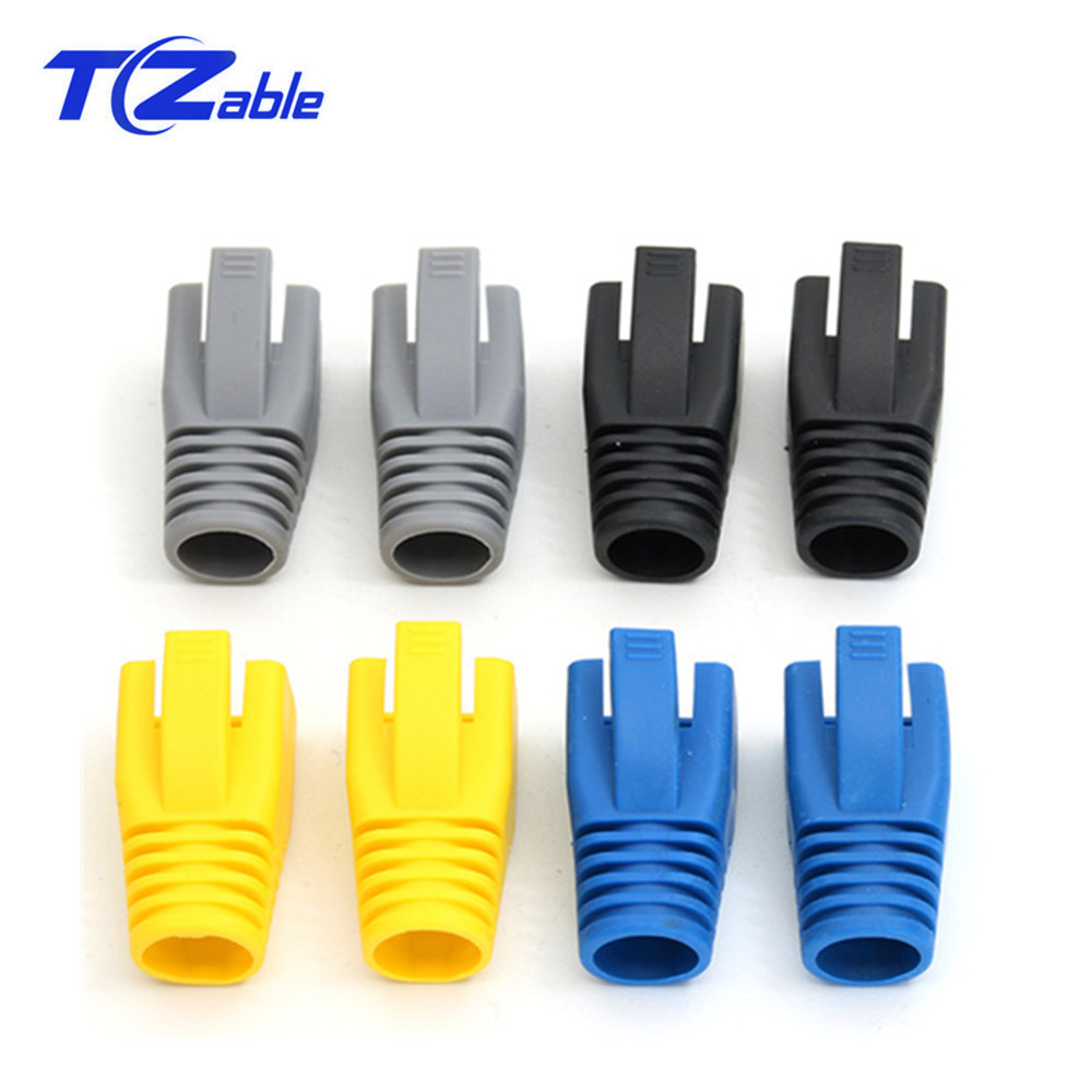 RJ45 Caps Protective Case Cat6a Cat7 RJ45 Network Ethernet Cable Connectors Cat7 TPU Boots Sheath Protective Sleeve Bush 100 Pcs