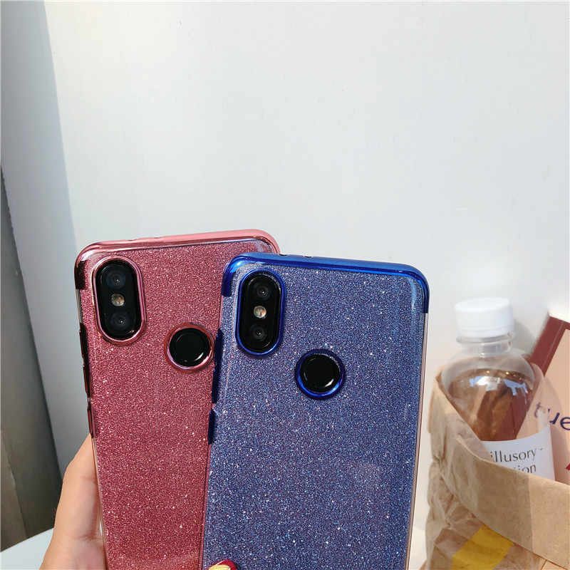 Glitter Back Protective Phone Case For XiaoMi A2 Lite A1 5X 6X 9 8 SE Case RedMi S2 Note 7 6 Pro 4X 6A 5A 5 Plus Silicone Cover