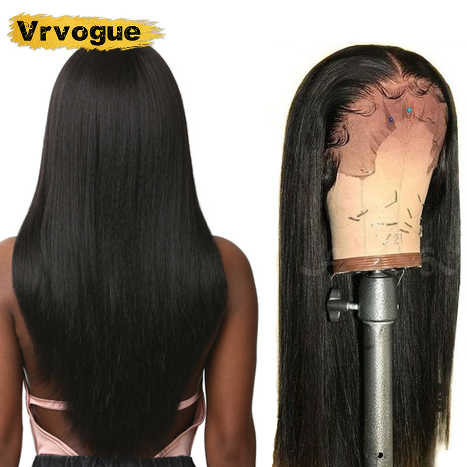 Vrvogue Short Human Hair Wigs Lace Peruvian Straight Wigs 13x4 Lace Front Wigs Wigs Bleached Knots