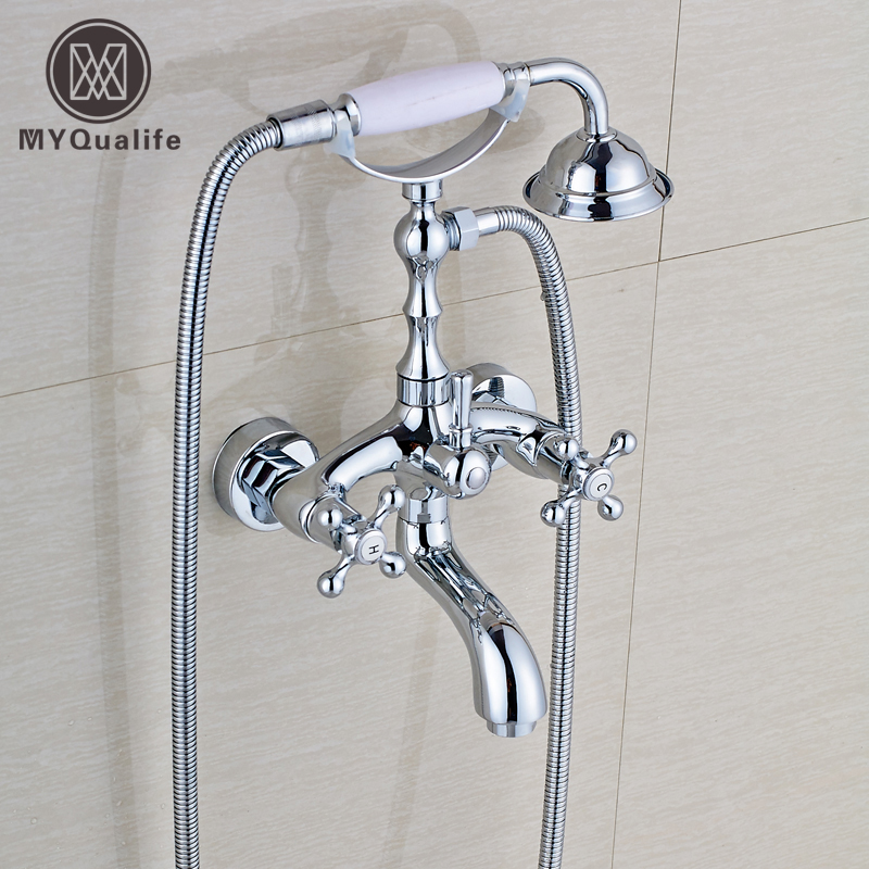 Telephone Style Chrome Dual Handle Bathroom Bathtub Faucet Set Wall Mounted Bathroom Bath and Shower Mixers with Handheld Shower