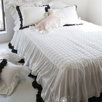 2/3Pcs Pure cotton thickened bed skirt black embroidered lace bedspread twin full queen size ruffles pillowcase free shipping YW