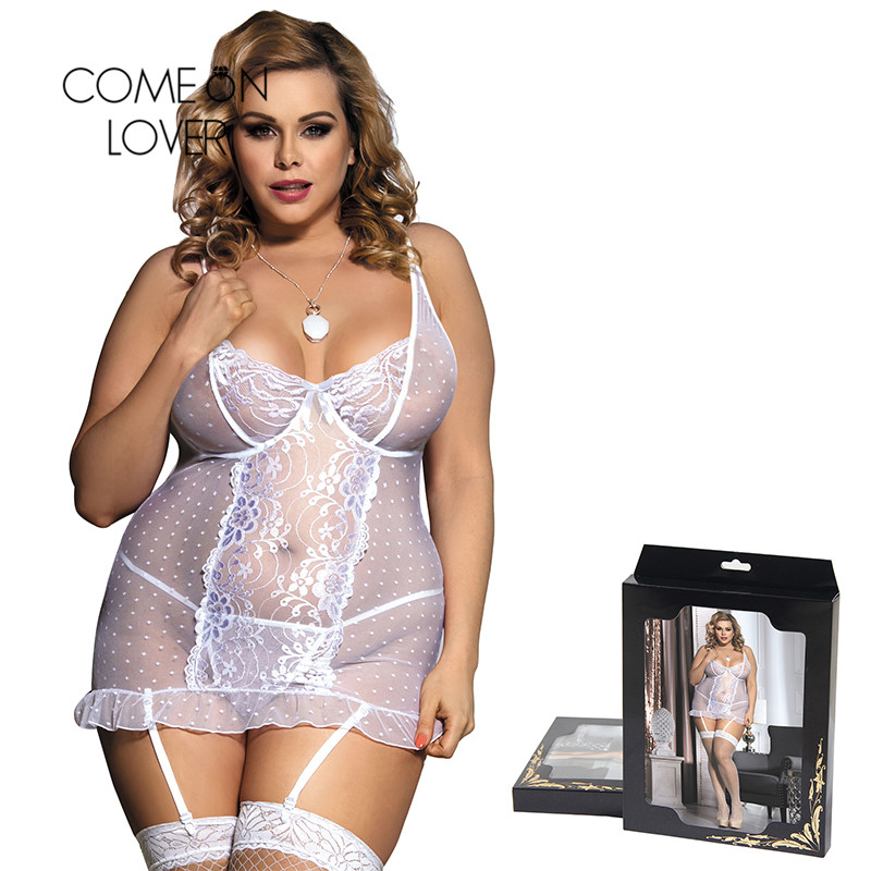 Comeonlover Stretch Lace And Dot Mesh White Disfraz Sexy Costumes Babydoll Plus Size With Garter Sexi Porn Lingerie RI70100