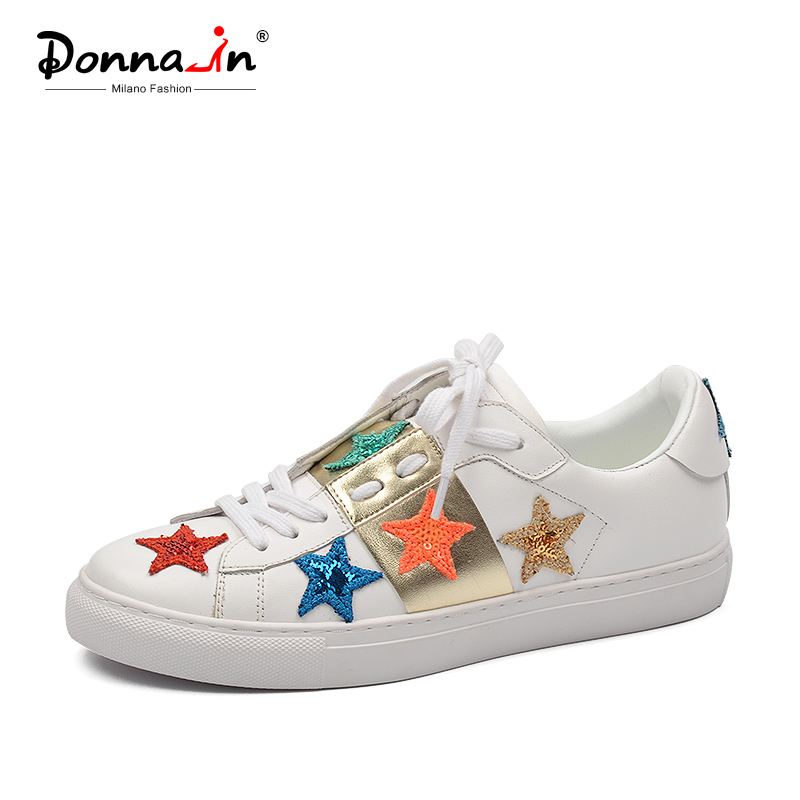 цена на Donna-in Women Flats Sneakers Shoes Genuine Leather White Casual Sneakers Shoes Flats Lace Up Round Toe Shoes for Women 2018 New