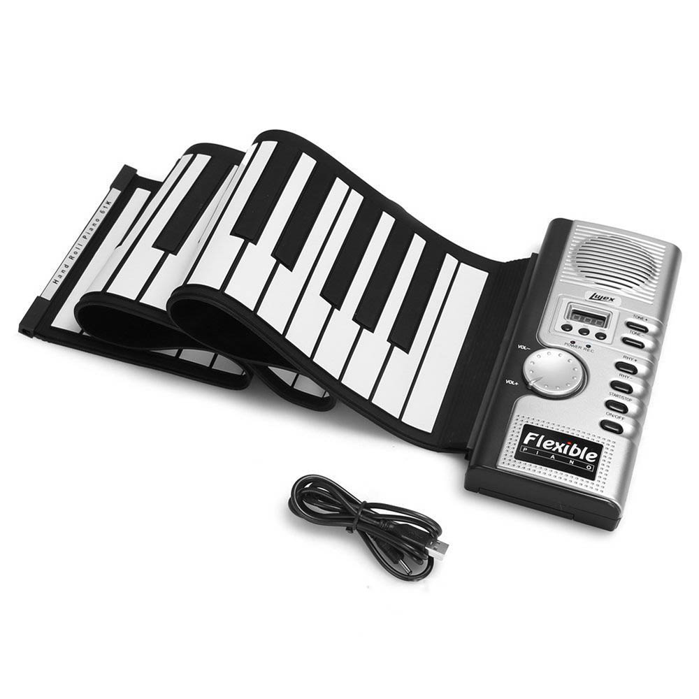 Portable 61 Keys Flexible Roll Up Piano USB Electronic Soft Keyboard Exercise Piano Toys for Childern Kid Learning Gift