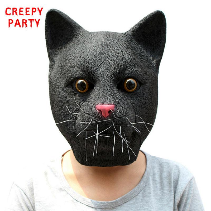 현실적인 검은 고양이 마스크 아름다운 라텍스 전체 얼굴 동물 파티 마스크 성인 할로윈 멋진 드레스 파티 코스프레 마스크