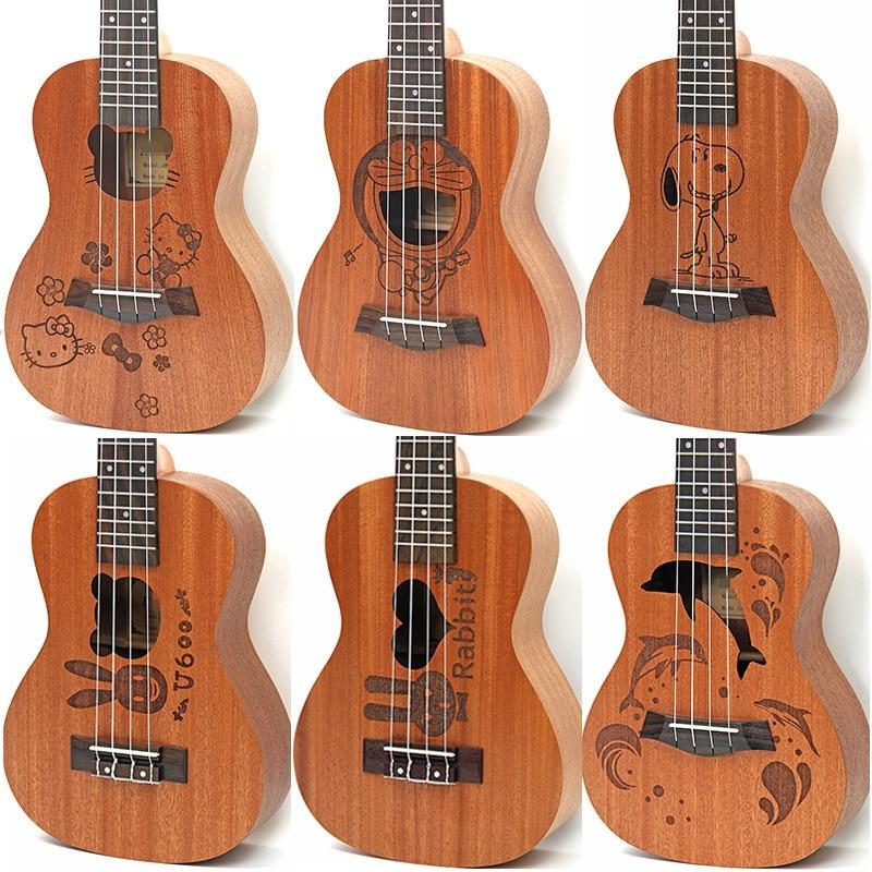 Afanti Music 21 inch small Guitar / Cartoon / Sapele / 21 inch Ukulele (DGA-103) zebra professional 24 inch sapele black concert ukulele with rosewood fingerboard for beginner 4 stringed ukulele instrument