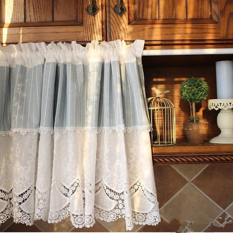 US $16.56 8% di SCONTO|Stile Country Bianco Ricamato Splice Blu/Bianco  Stripe Hollow Pizzo di Cotone A Castello Tenda Cucina Tenda Casa Tenda ...