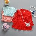 Moda primavera baby girl princess dress manga comprida 1 ano do bebê aniversário dress sólidos bonito doll dress infantis vestidos da menina com saco