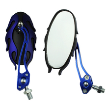 Universal motorcycle mirrors 10MM bike/motorbike rear view side pair blue