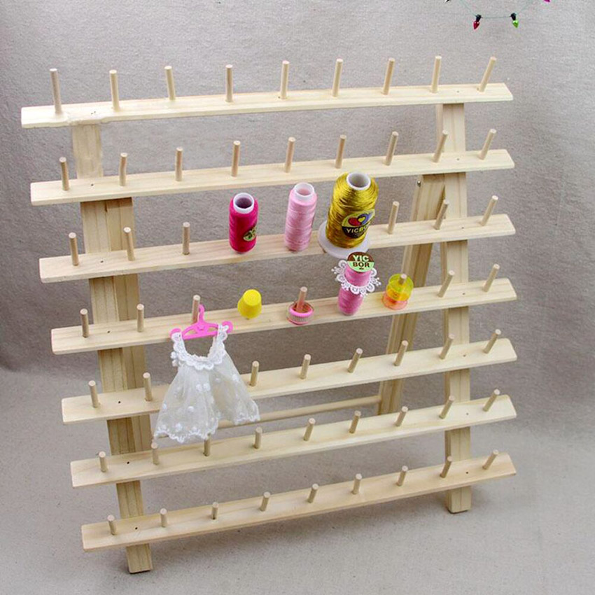 63 pins wooden thread rack thread stand for computer machine embroidery sewing thread 9 pins. Black Bedroom Furniture Sets. Home Design Ideas