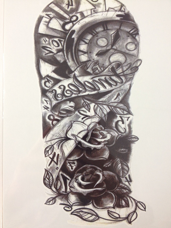 New Arrival 21 X 15 Cm Black And White Clock Temporary Tattoo