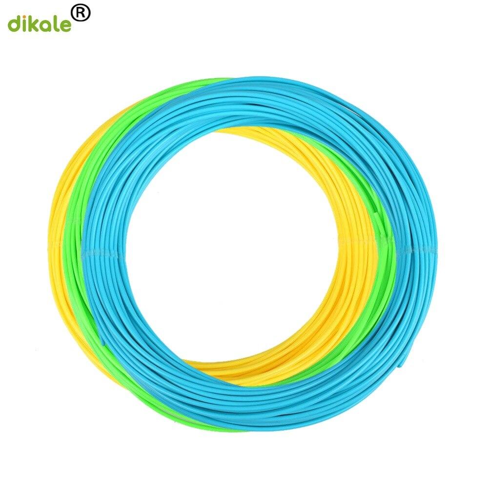 Dikale 3m x 3 cores 3D Pen Filament PLA 1.75 milímetros de Plástico de Borracha Material De Impressão para a Impressora 3D Caneta filamento