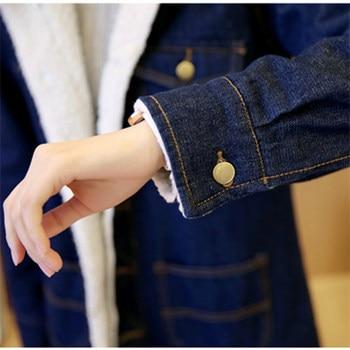 Han edition 2017 fashion women tops Denim fabrics of high thermal lambs wool  women coat Long sleeve nirvana trench coat xf010 10