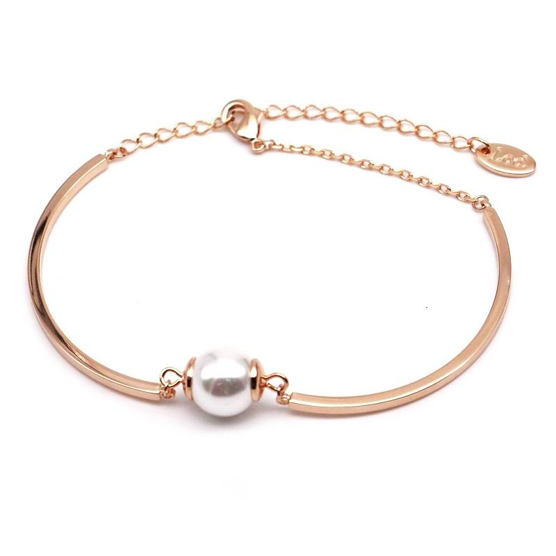 Simple gold-color simulated pearl bracelet women elegant bracelets & bangles for lady female gift