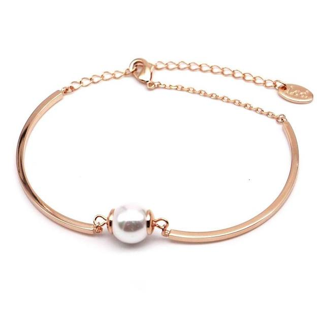 Simple Gold Color Simulated Pearl Bracelet Women Elegant Bracelets Bangles For Lady Female Gift