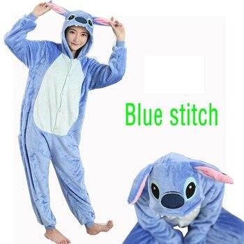 Mùa đông Homewear Kigurumi Cho Người Lớn Dễ Thương Động Vật Cross Stitch Lilo Dài Tay Áo Trùm Đầu Onesie Đồ Ngủ