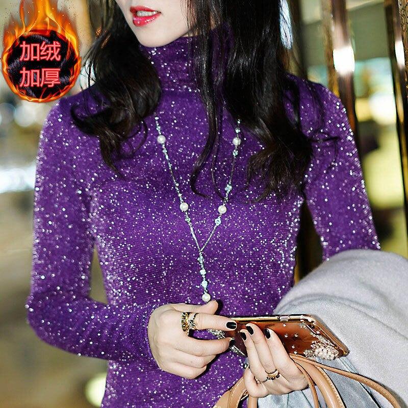 orange Casual Manga Encaje De Invierno green purple Mujeres Collar Camisas Grueso Tops Alto Otoño navy Cuello Larga Df2013 Black Blusas Cálido Encaje Elegante Dama qz1dPv