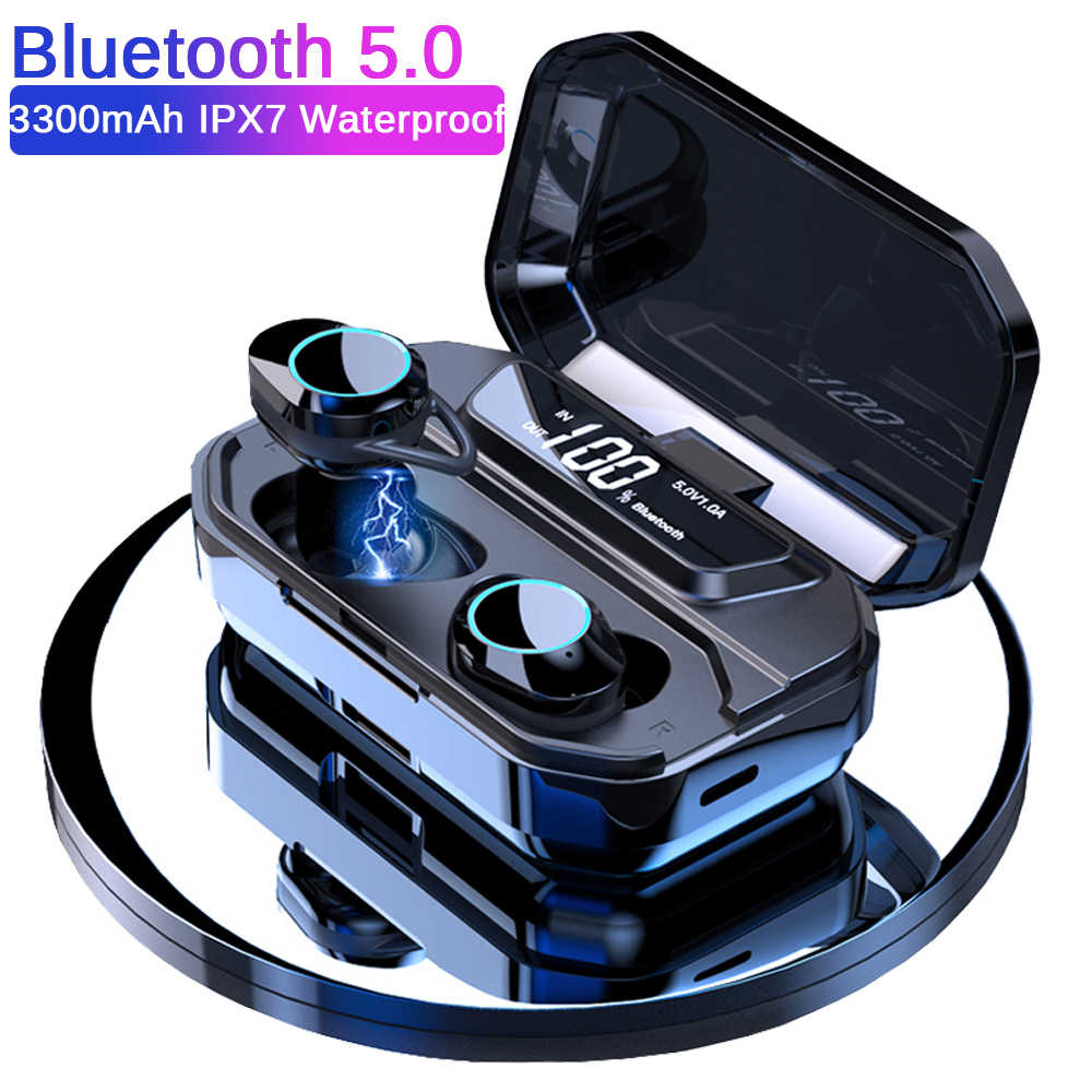 G02 TWS 5.0 Bluetooth 6D Stereo Earphone Wireless Earphones IPX7 Waterproof Earphones 3300mAh LED Display Smart Power Bank