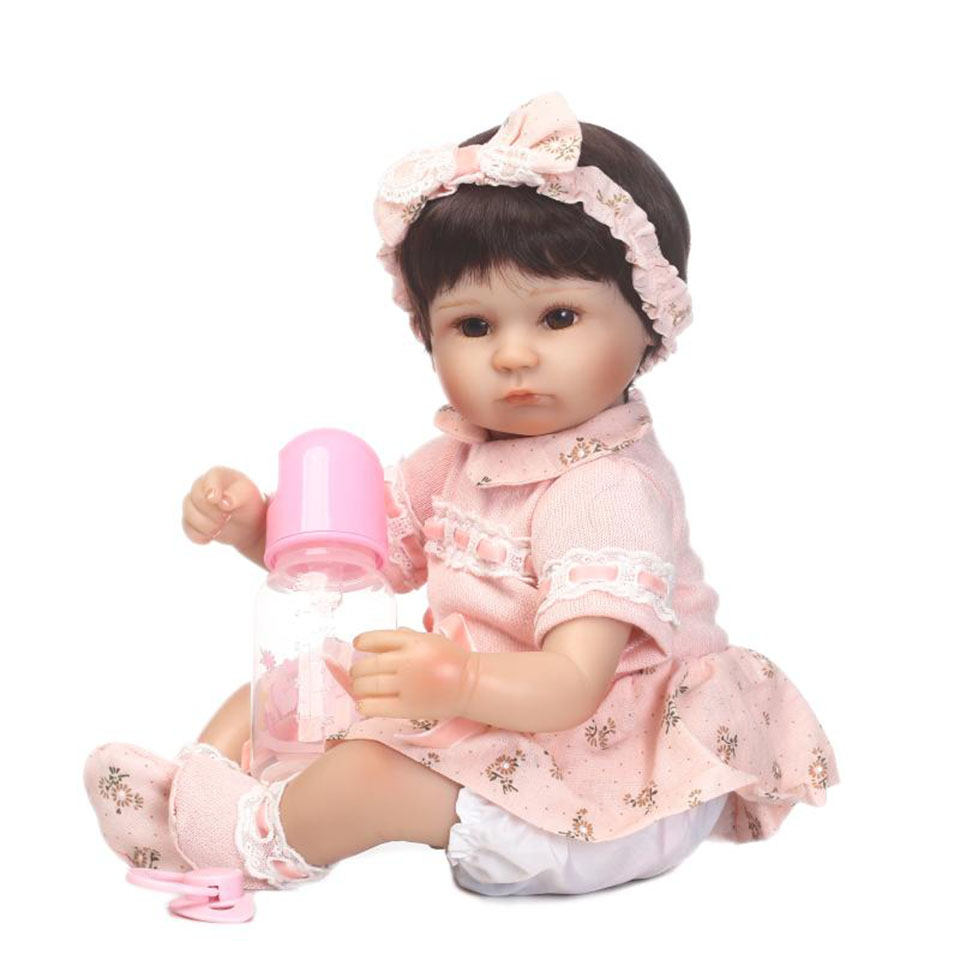 Wear Pink Clothes 16 Lifelike Reborn Dolls 40 Cm Babies Soft Silicone Touch Real Newborn Baby