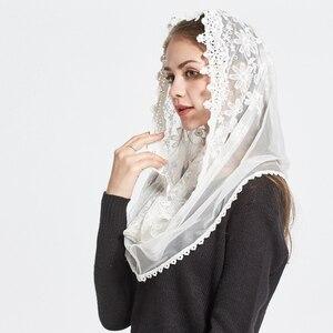 Image 2 - תחרה אינפיניטי צעיף נשים שנהב חתונת הכלה שושבינה רך קפלת רעלה מנטילת מסורתי קתולי חיג אב מוסלמי צעיף