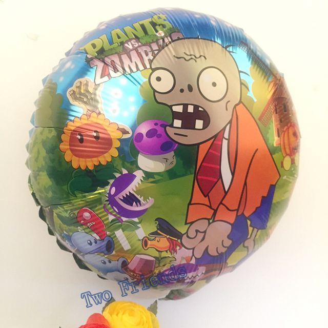 plants vs zombies foil balloons 18inch 5pcs happy birthday party decorations kids toys halloween party helium