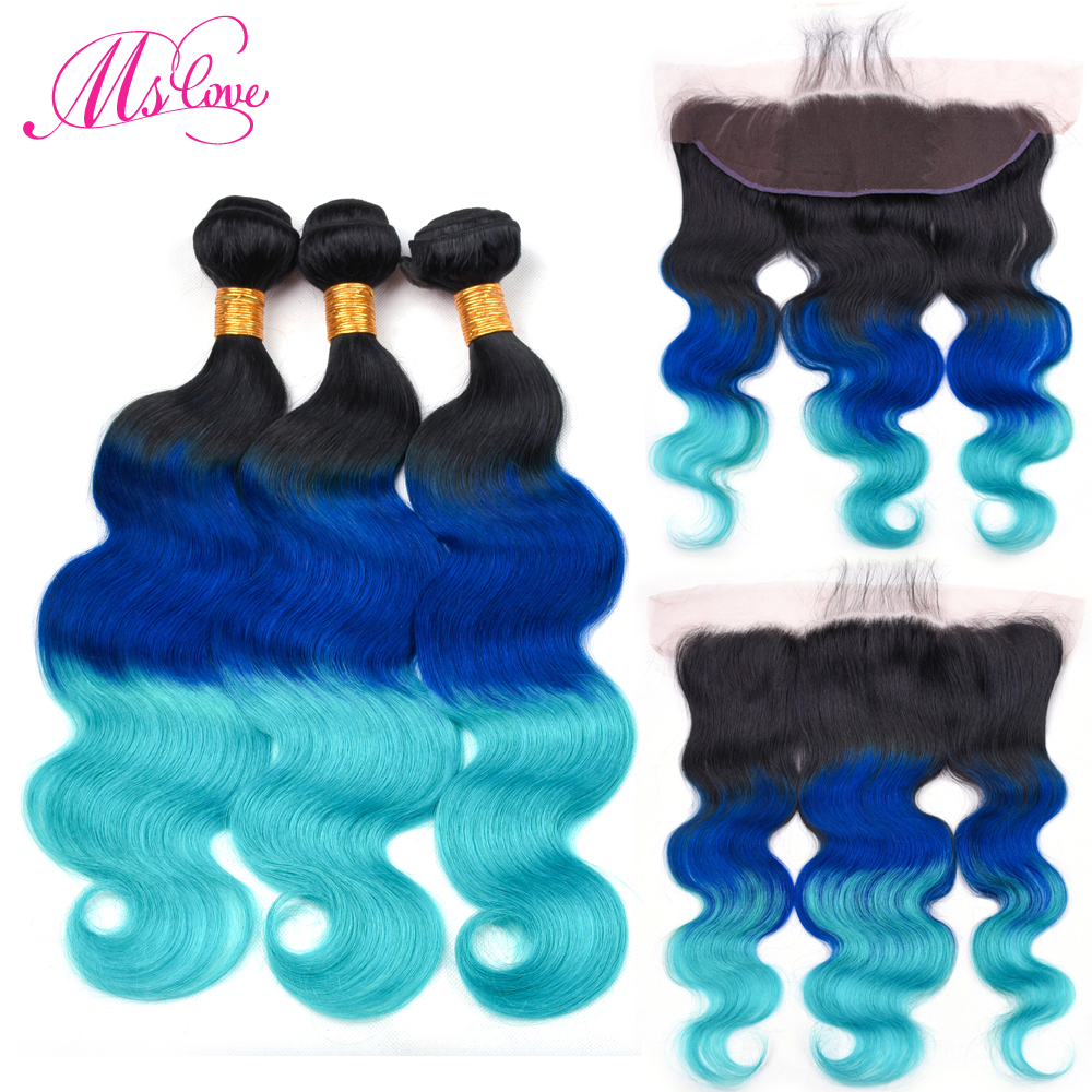 Ms Love Pre Colored T1B Blue Green Body Wave Human Hair Bundles With Lace Frontal Closure