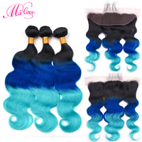Ms Love Pre Colored T1B Blue Green Body Wave Human Hair Bundles With Lace Frontal Closure Remy Brazilian Hair Weaving Baby Hair