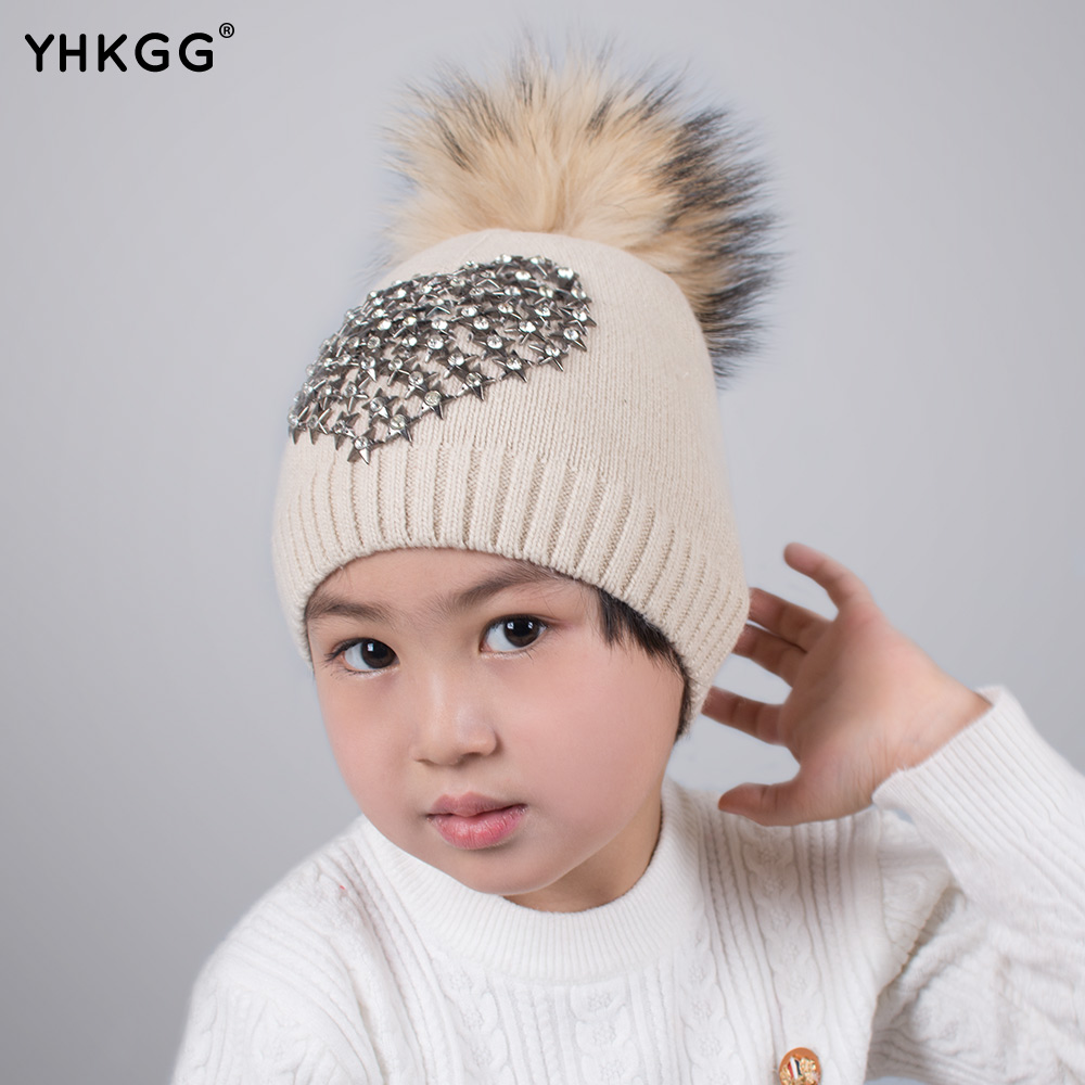 YHKGG 2017  last  Children warm winter raccoon fur knitting ball A lovely hat with a heart ear drill heart goes last the