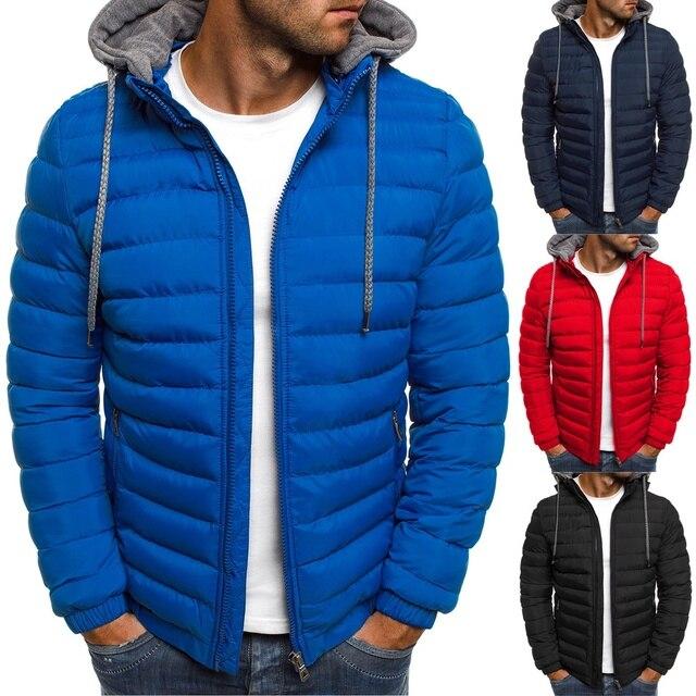 fc1a2226 Chaqueta de invierno marca Zogaa Abrigo con capucha con cremallera casual  chaquetas de hombre Parka ropa