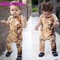 Malayu Ребенка Весной и осенью 2016 новых Европейских Американский ребенка Ползунки милый ребенок лев pattern с капюшоном комбинезон молния карман в юбке