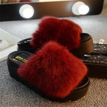 Women Fur Sandals Fashion Leather Platform Sandals Casual Fur Slides Shoes Slip-On Sandalia Feminina Zapatos Mujer Plataforma